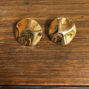 MONET Circular Wave Gold Tone Clip Earrings